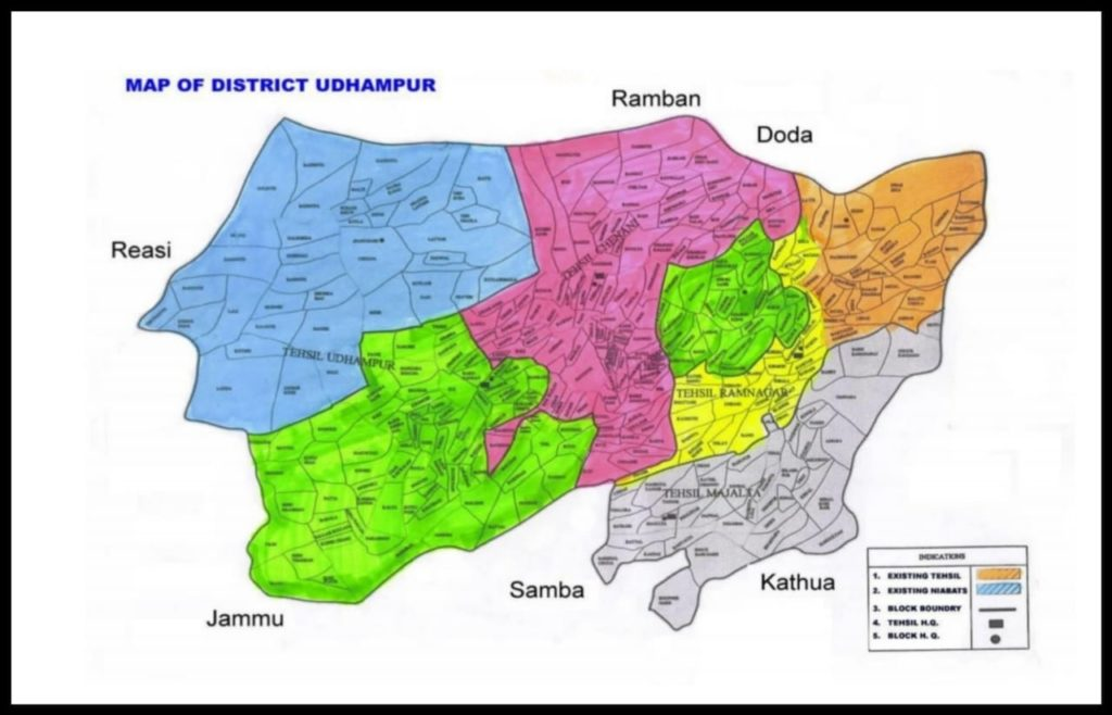 Map of Udhampur District